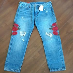 Rare 501 Levi's with embroidered roses